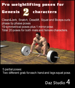 Weightlifting Pro Poses for Genesis 2 characters 3D Figure Essentials aldebaran086