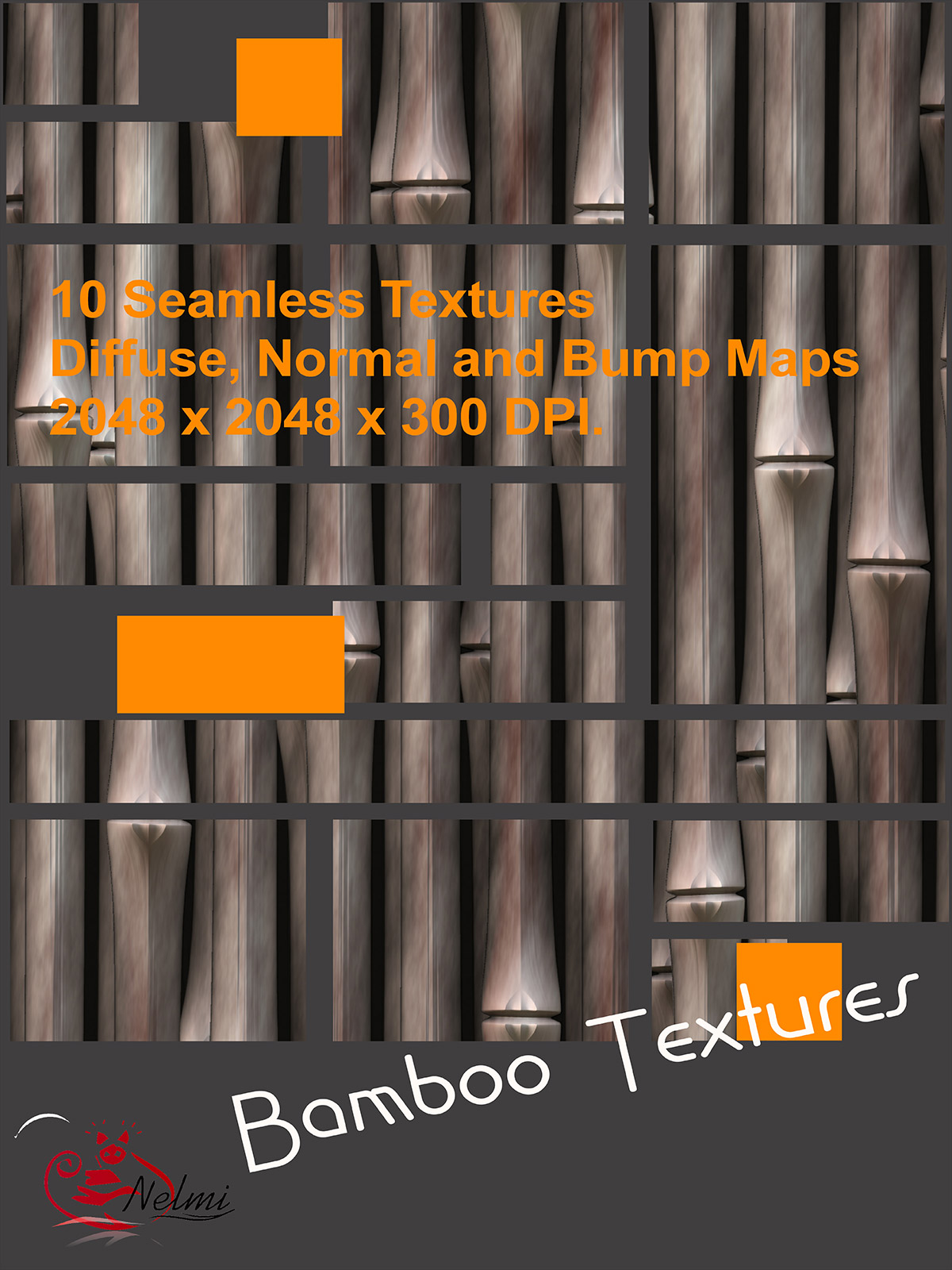 10 Seamless Bamboo Textures with Texture Maps: Bump, Diffuse and