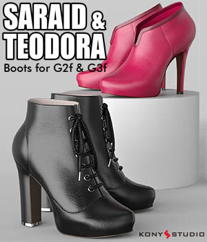Saraid & Teodora Boots for G2f and G3f 3D Figure Assets kony