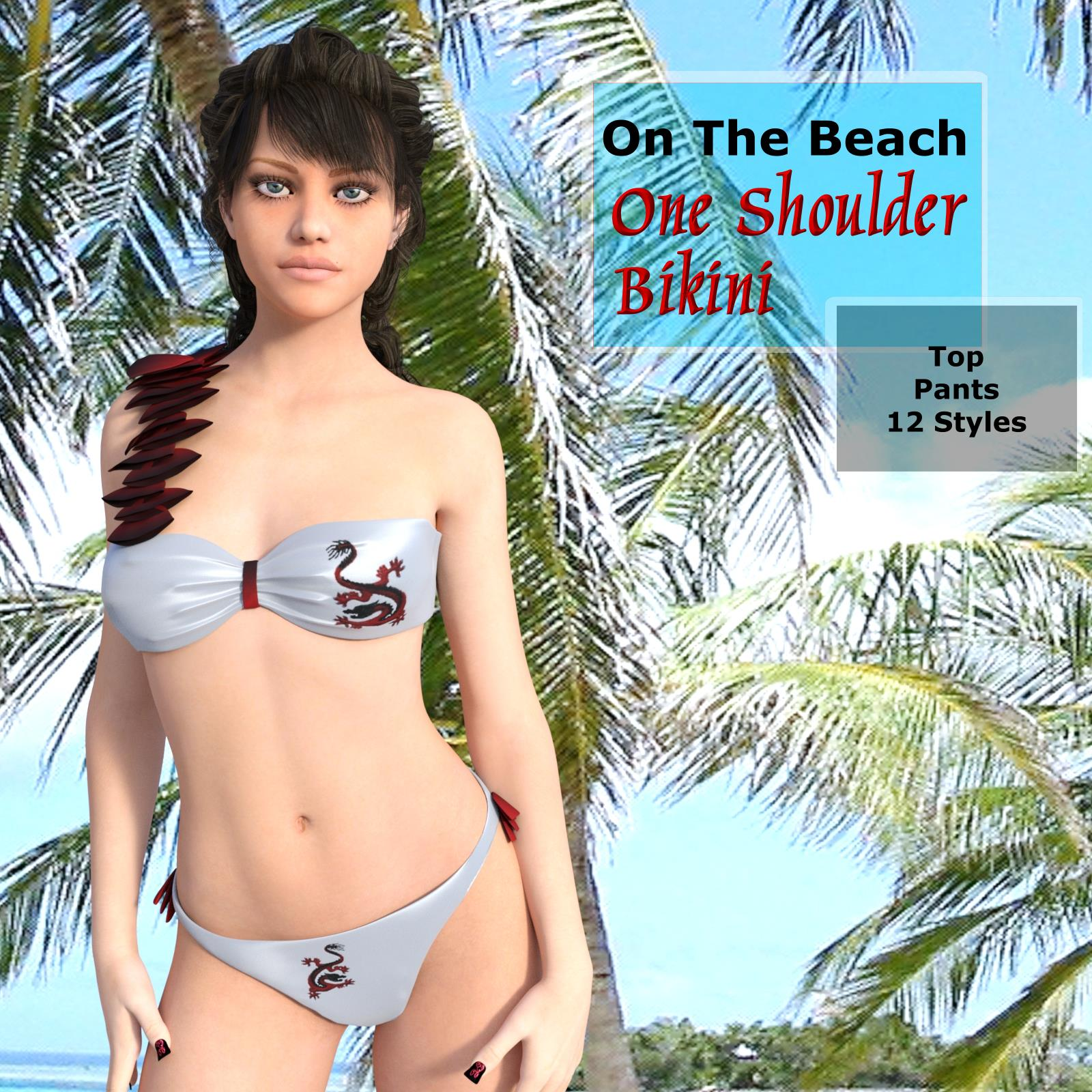 On The Beach - One Shoulder Bikini for G3F