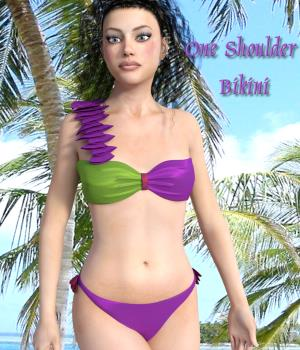 On The Beach - One Shoulder Bikini for G3F 3D Figure Assets chasmata
