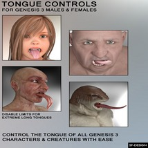 Tongue Controls for Genesis 3 Males and Females image 1