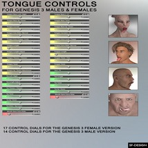 Tongue Controls for Genesis 3 Males and Females image 2