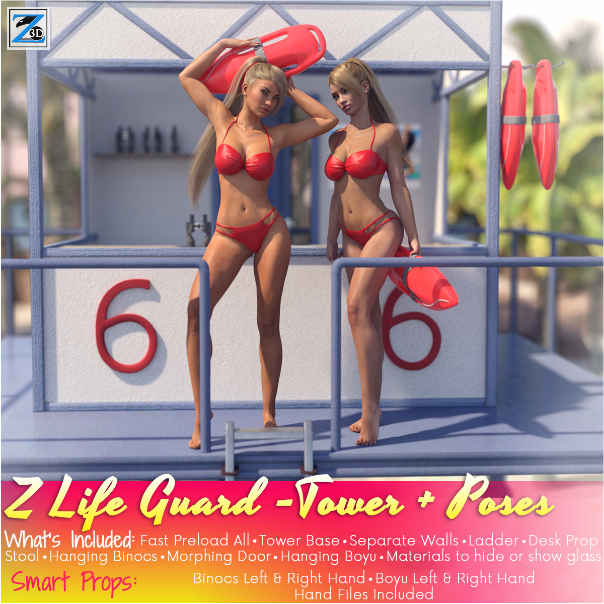 Z LifeGuard - Tower and Poses - Daz Studio