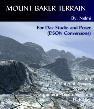 Mount Baker - Terrain for Daz Studio and Poser 3D Models nelmi