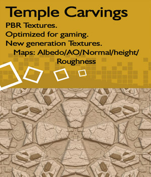10 Seamless Temple Carvings - PBR Textures 2D Graphics nelmi