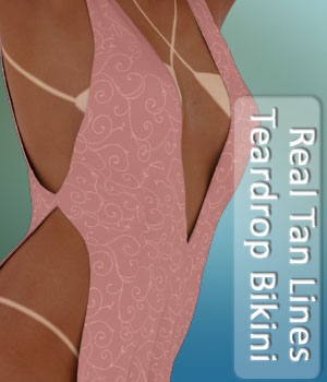 Real Tan Lines for Teardrop Bikini 3D Figure Assets PairADime