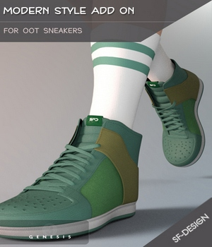 Modern Style Add On for OOT Sneakers for Genesis 3 Males 3D Figure Essentials SF-Design