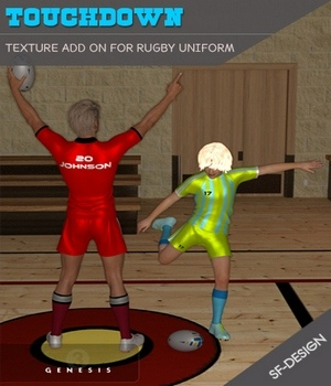 Touchdown Texture Add On for Rugby Uniform 3D Figure Assets SF-Design