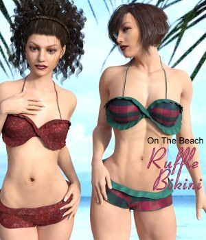 On The Beach - Ruffle Bikini for G3F 3D Figure Assets chasmata
