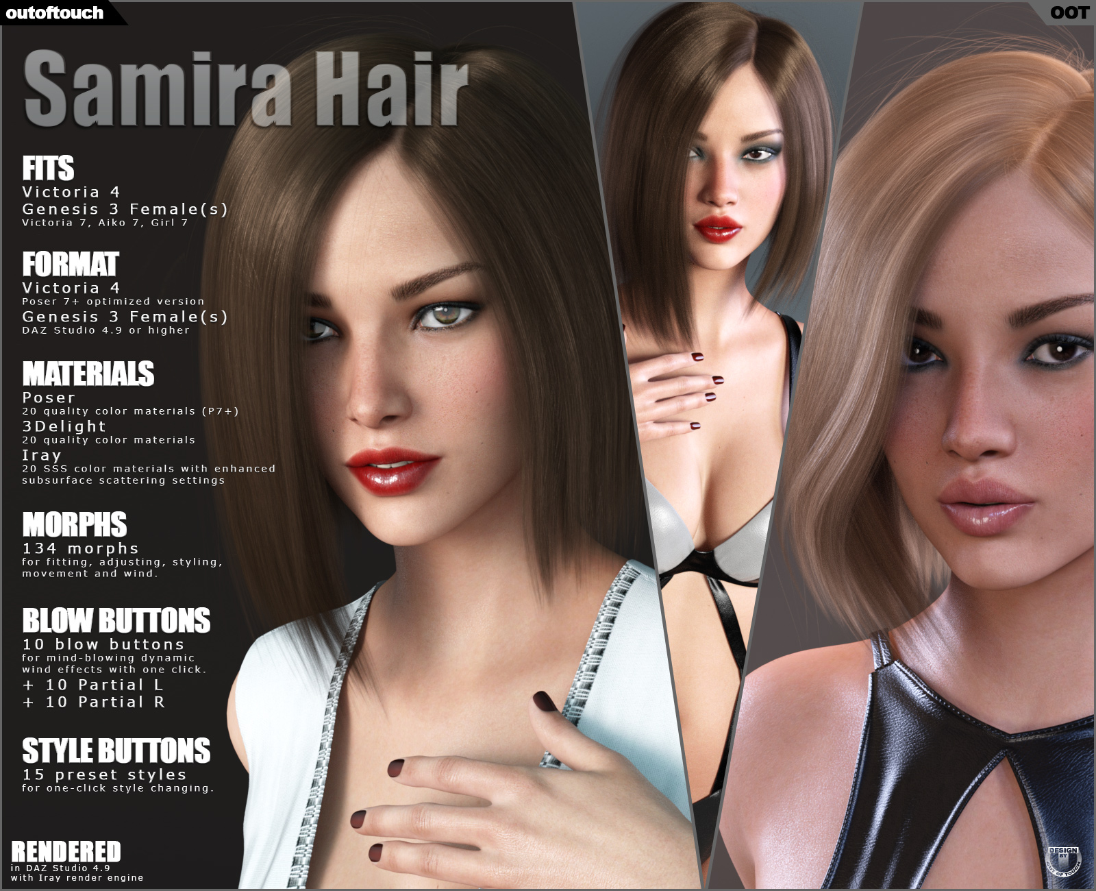 Samira Bob Hair for Victoria 4 and Genesis 3 Females
