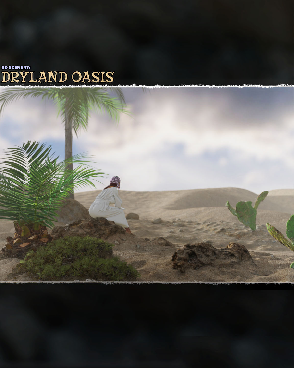 3D Scenery: Dryland Oasis - Extended License