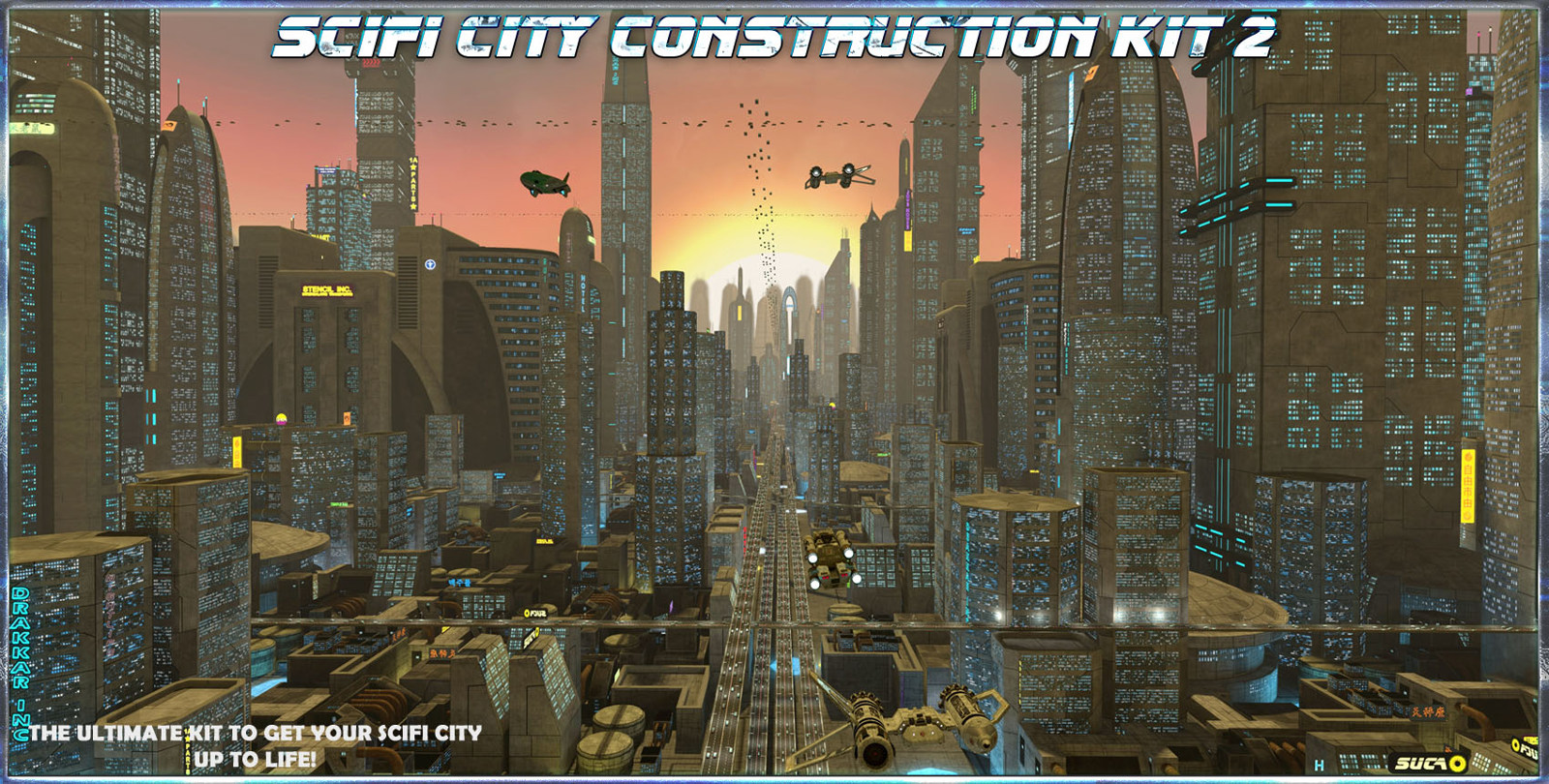 SciFi City Construction Set 2 3D Models 3-d-c