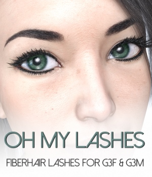 Oh My Lashes Fiberhair Eyelashes for G3F & G3M 3D Figure Assets RedzStudio