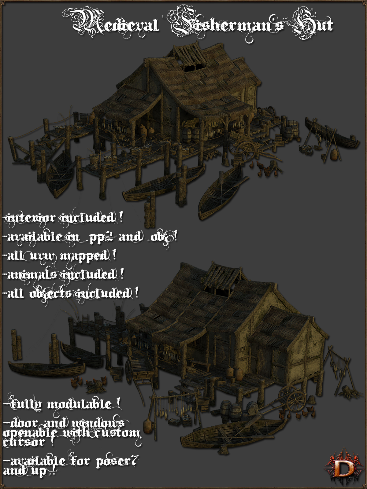 Medieval Fisherman's Hut - Extended License