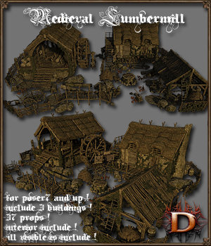Medieval Lumbermill - Extended License 3D Models Gaming Extended Licenses Dante78