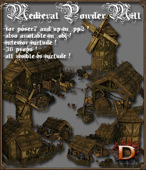 Medieval Powder Mill - Extended License 3D Models Extended Licenses Dante78