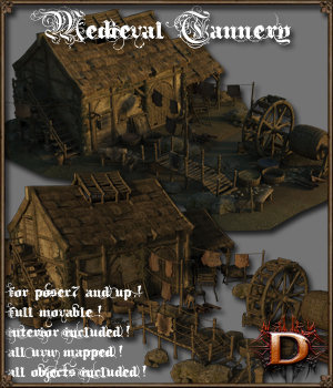 Medieval Tannery - Extended License 3D Models Extended Licenses Dante78