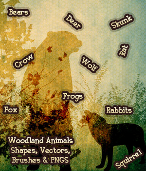 FB Woodland Animal Shapes, Vectors, PNGs and Brushes 2D Graphics fictionalbookshelf