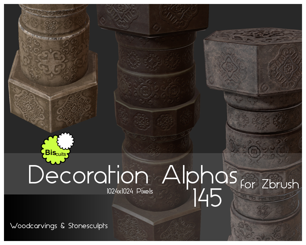 Biscuits Decoration Alphas for Zbrush