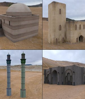 Middle East Buildings 4 (for Poser) - Extended License 3D Models Gaming Extended Licenses VanishingPoint