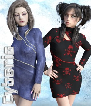 Cyberia Dress & Jewels for G3F 3D Figure Assets chasmata