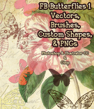 FB Butterflies 1 Set of Brushes, Shapes, Vectors, PNGs - Merchant Resource