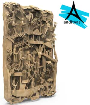 Carved stone tablet 3D Models aaditya