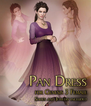 Pan Dress for Genesis 3 Female 3D Figure Assets KarenGrant