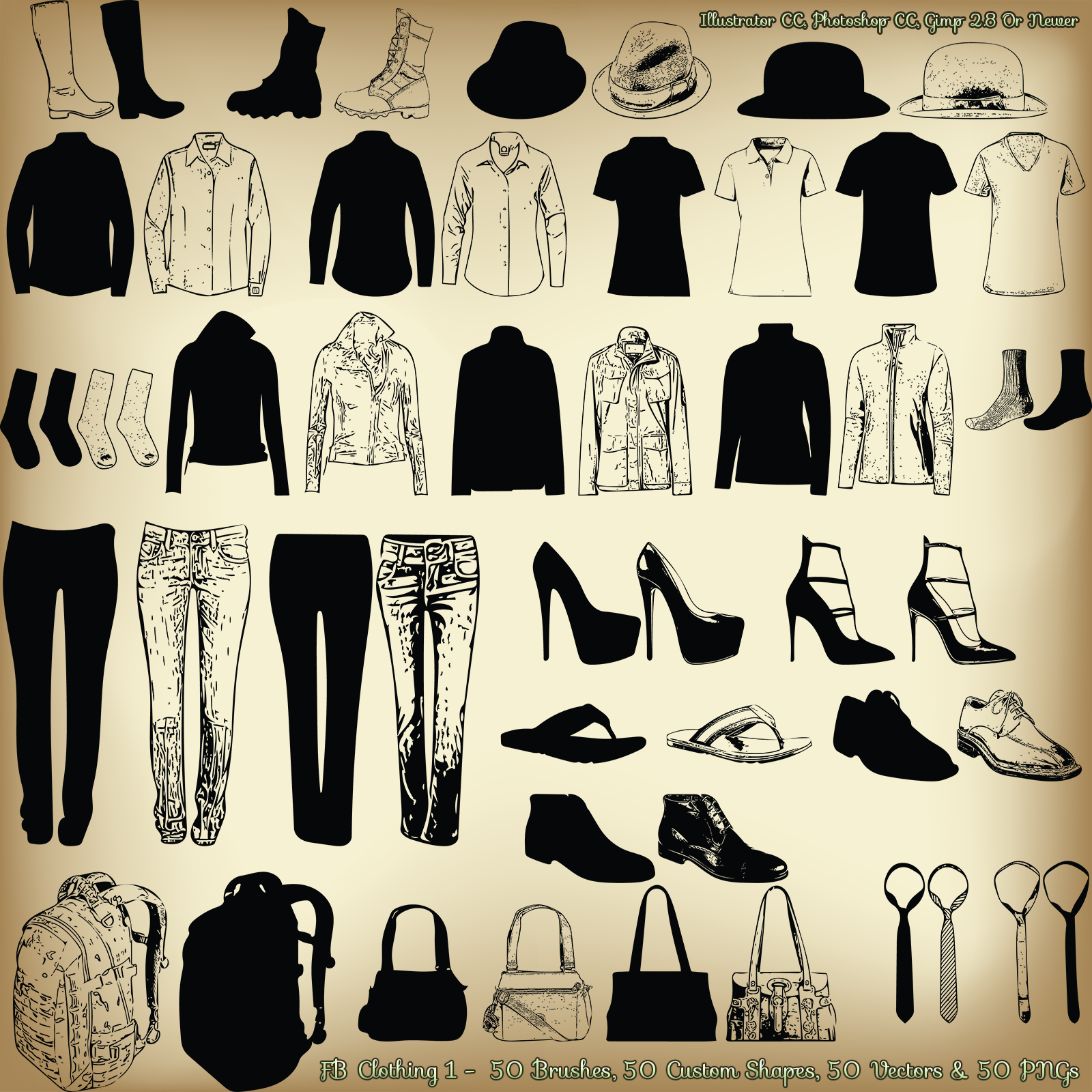 FB Clothing 1 Brushes, PNGs, Vectors, Custom Shapes - Merchant Resource