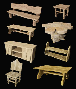 Wooden Furniture Set DR 3D Models 3D Game Models : OBJ : FBX Dinoraul