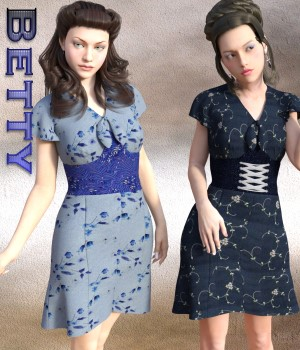 Betty Dress for G3F 3D Figure Essentials chasmata
