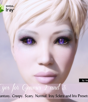 Genesis 2 and 3 Eyes - Iris and Sclera 3D Figure Assets nelmi
