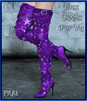 Jinx Boots for V4 3D Figure Assets prae