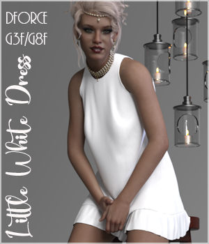 The Little White Dress for Genesis 3 3D Figure Assets RPublishing
