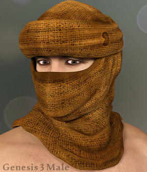Desert Headwear for Genesis 3 Males 3D Figure Assets Karth