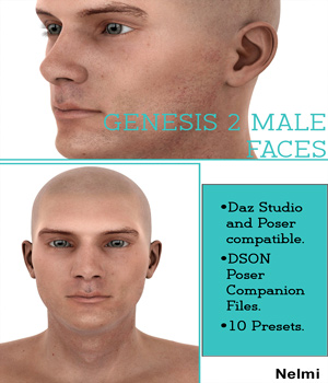 10 Faces for Genesis 2 Male 3D Figure Essentials nelmi