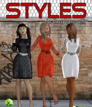 Styles for Classy Dress Outfit for G3F 3D Figure Essentials GKDantas