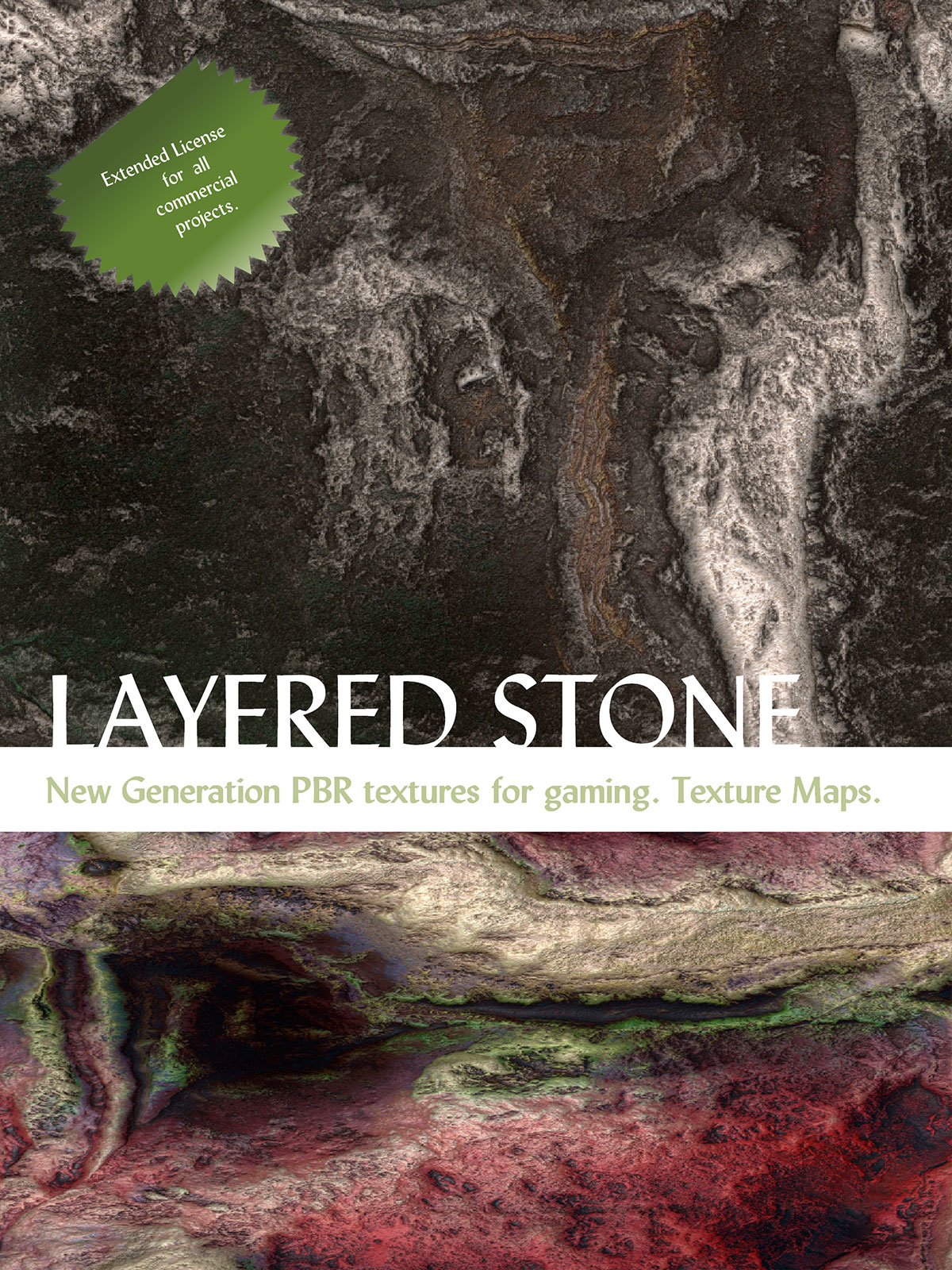 10 Seamless Layered Stone Texture with Maps - Extended License