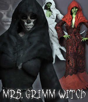 Mrs. Grimm Witch for G3F 3D Figure Assets RPublishing