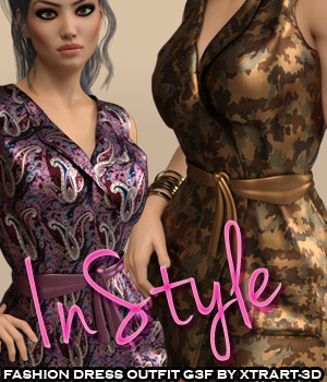InStyle - Fashion Dress Outfit for Genesis 3 Females 3D Figure Essentials -Valkyrie-