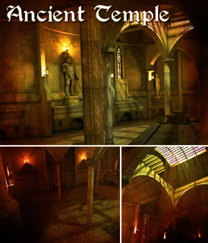 Ancient Temple - game models 3D Models 3D Game Models : OBJ : FBX Extended Licenses dexsoft-games