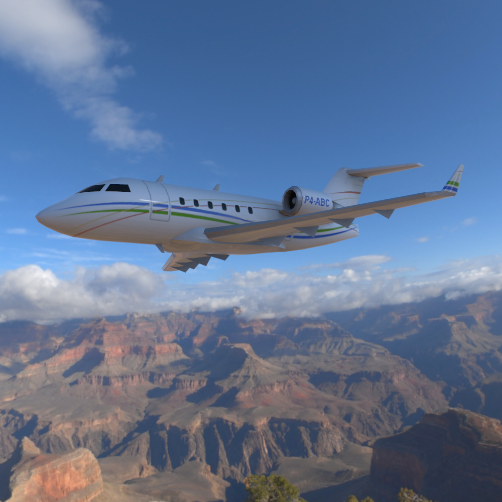 Bombardier Challenger 604 3ds and obj - Extended License