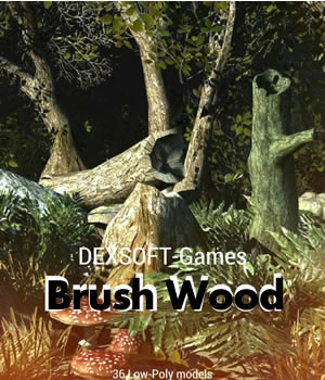 Brush Wood - Game models pack 3D Models Game Content - Games and Apps Extended Licenses dexsoft-games