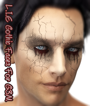 L.I.E Gothic Faces For Genesis 3 Male 3D Figure Assets fictionalbookshelf