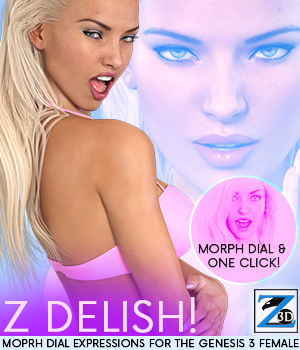 Z Delish - Morph Dial Expressions for the Genesis 3 Females 3D Figure Essentials Zeddicuss
