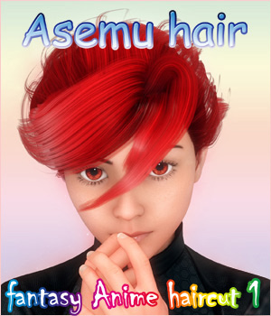 fantasy anime haircut 1 _ Asemu hair_ for G2 & G3 3D Figure Assets muwawya