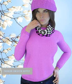 X-FashionSweater Outfit for Genesis 3 Females 3D Figure Essentials xtrart-3d