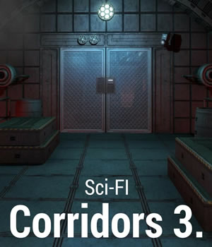 Sci-Fi Corridors 3. 3D Models Game Content - Games and Apps Gaming Extended Licenses dexsoft-games