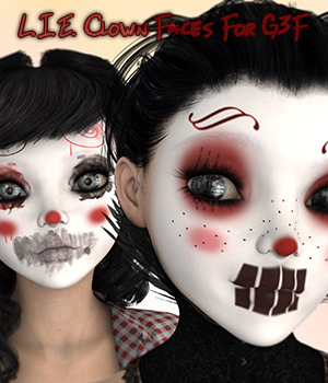 L.I.E. Clown Faces For Genesis 3 Female 3D Figure Assets fictionalbookshelf